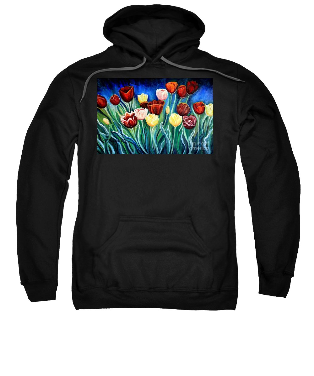 Tulips Sweatshirt featuring the painting Enchanted Tulips by Elizabeth Robinette Tyndall