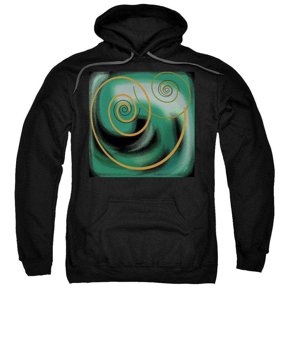 Green Abstract Sweatshirt featuring the digital art Encounter by Ben and Raisa Gertsberg