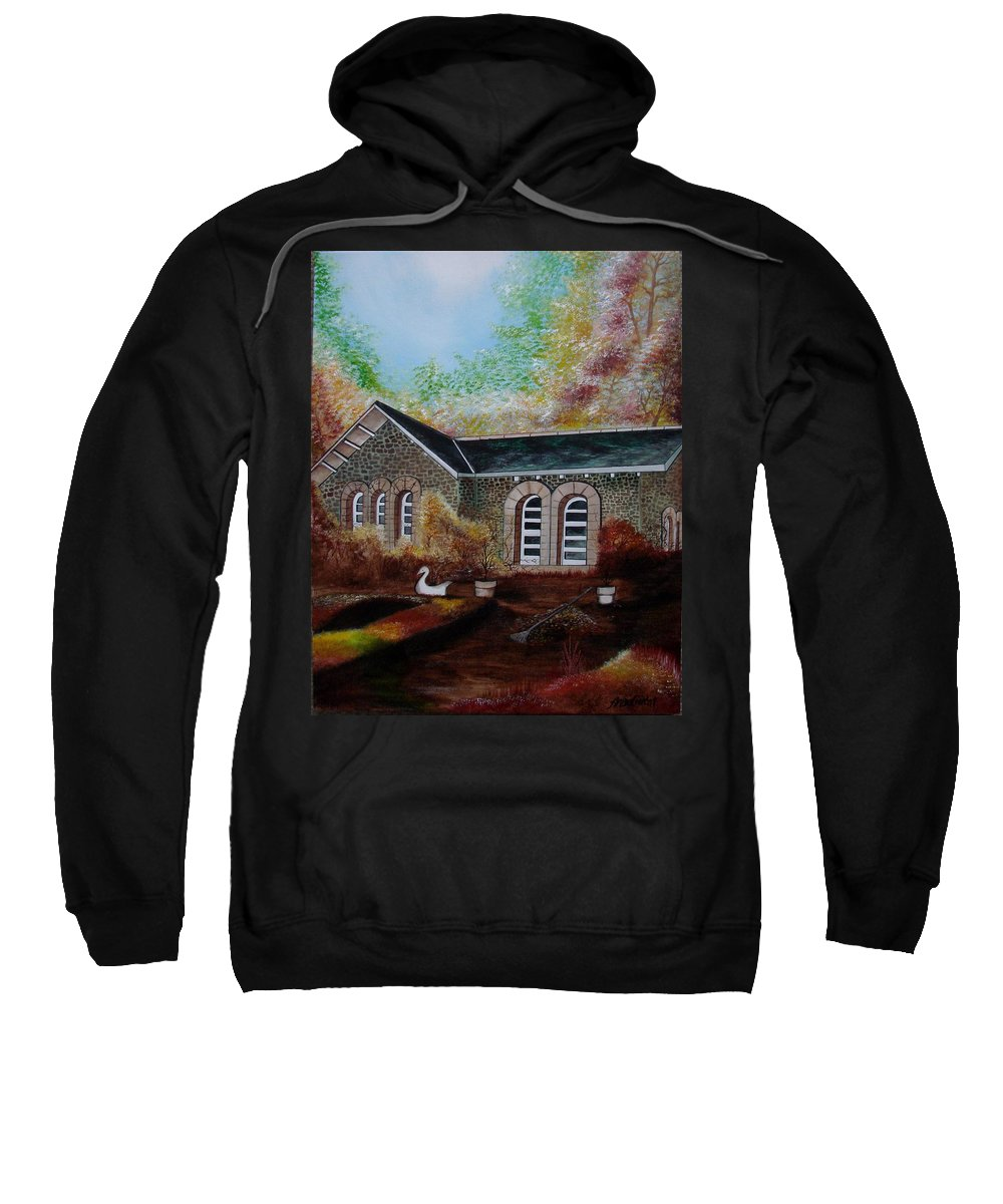 Autmn Sweatshirt featuring the painting English Cottage In The Autumn by Glory Fraulein Wolfe