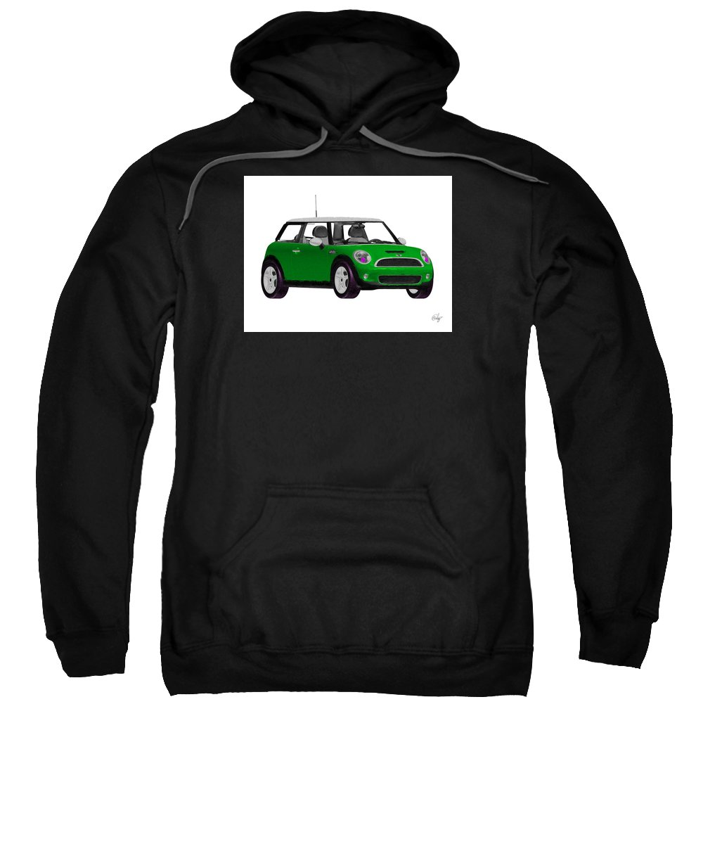 Automobile Sweatshirt featuring the mixed media Envy Green Mini Cooper by Edier C