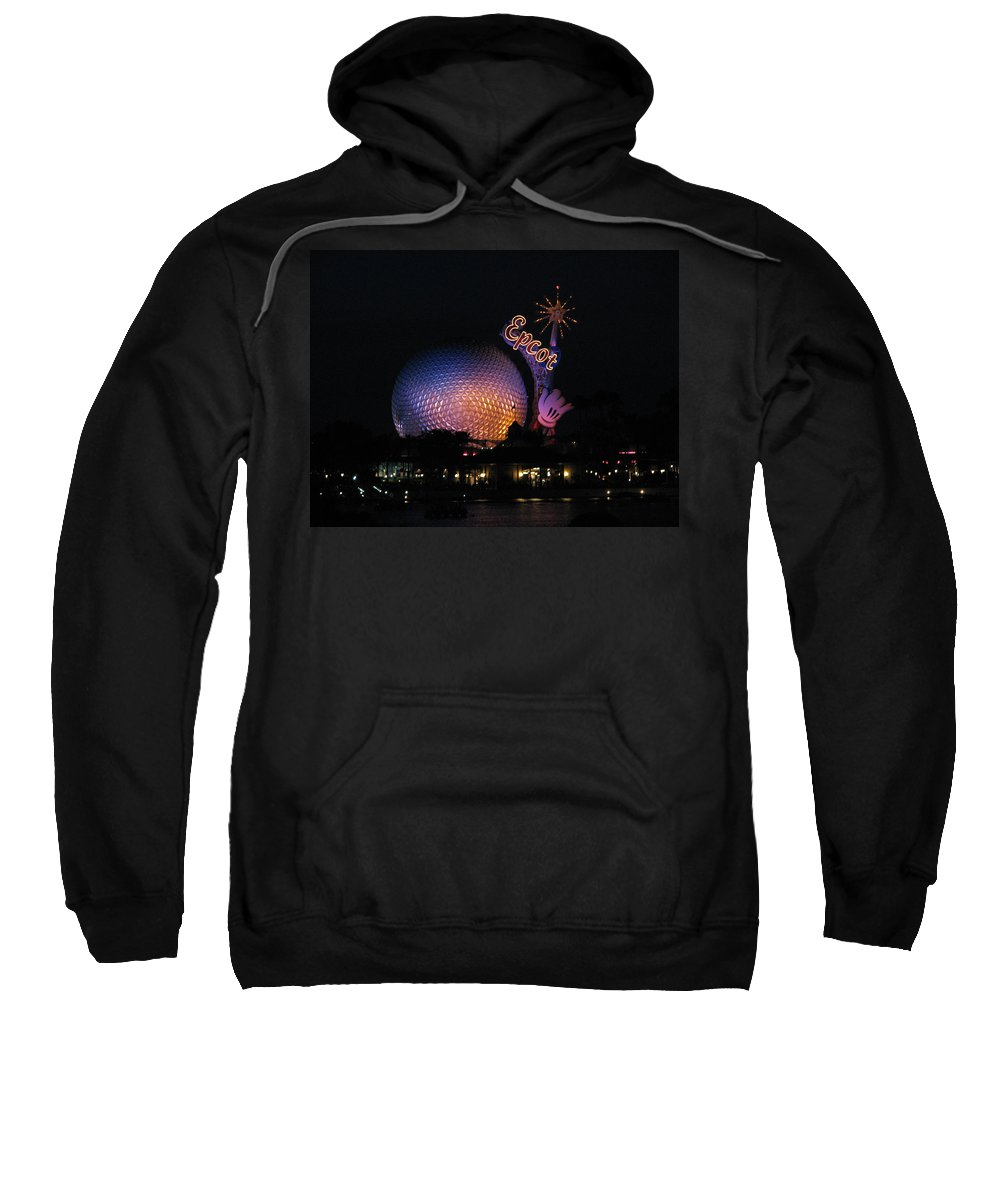 Epcot Sweatshirt featuring the photograph Epcot At Night II by Stacey May