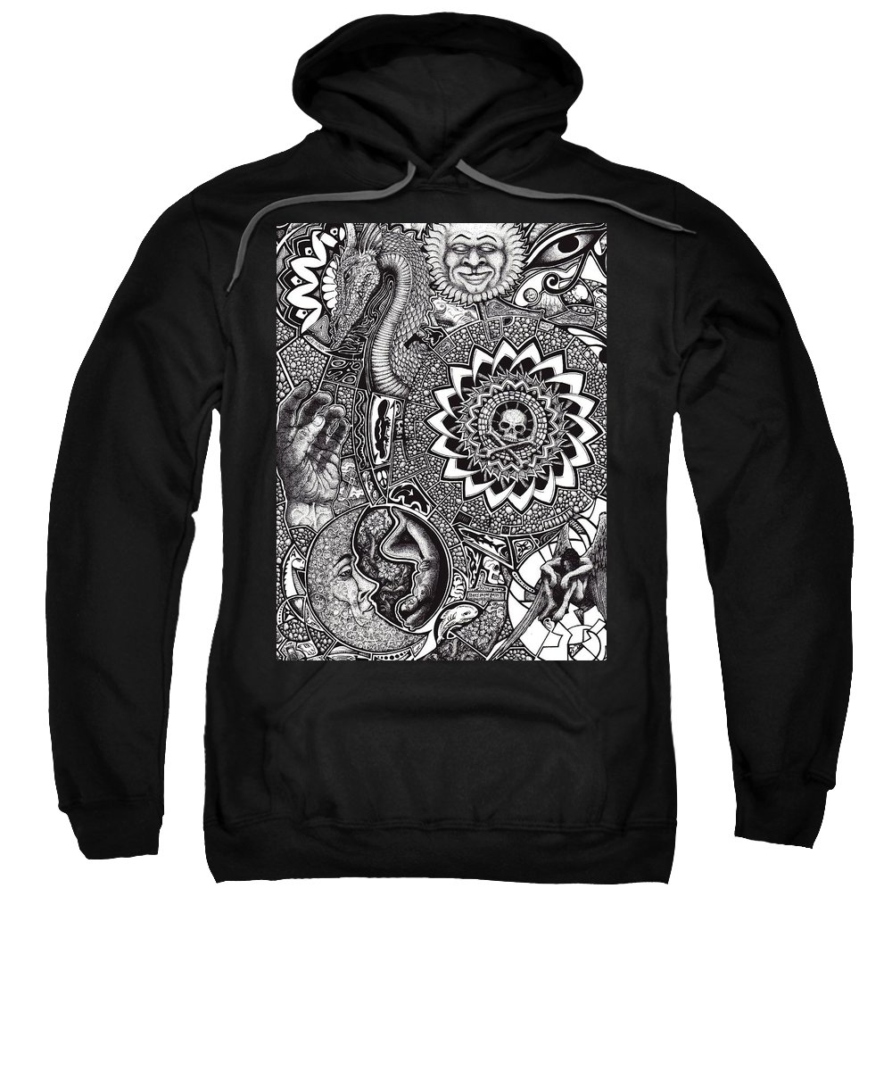 Black And White Sweatshirt featuring the drawing Epiphany by Tobey Anderson