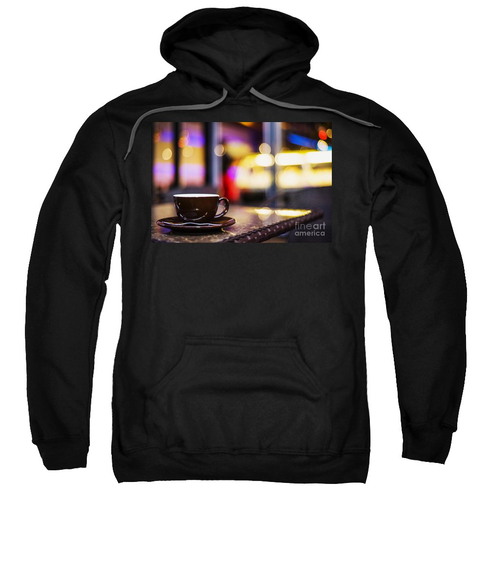 Brown Sweatshirt featuring the photograph Espresso Coffee Cup In Cafe At Night by Jacek Malipan