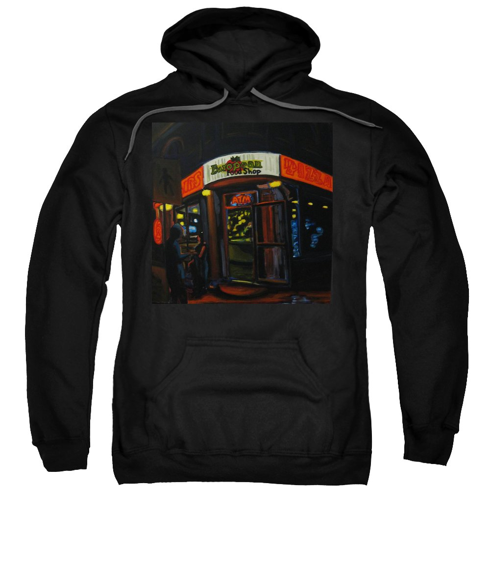 City Sweatshirt featuring the painting European Food Shop by John Malone
