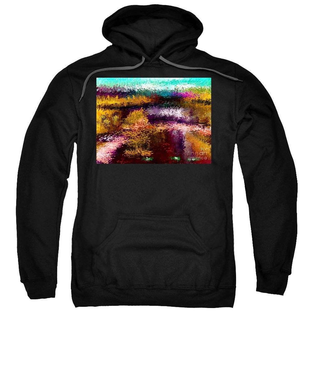 Abstract Sweatshirt featuring the digital art Evening At The Pond by David Lane