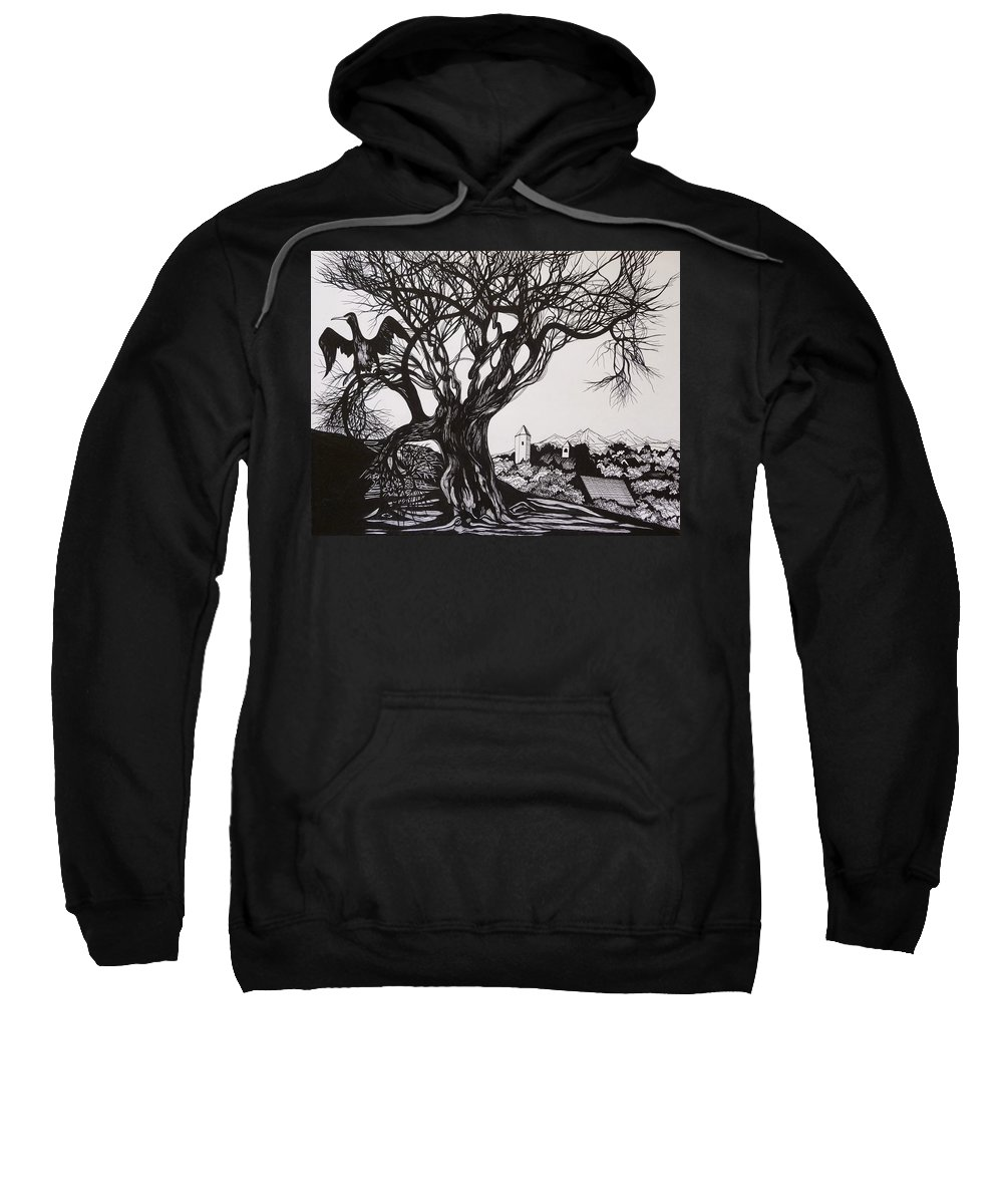 Pen And Ink Sweatshirt featuring the drawing Evening In Midnapore by Anna Duyunova