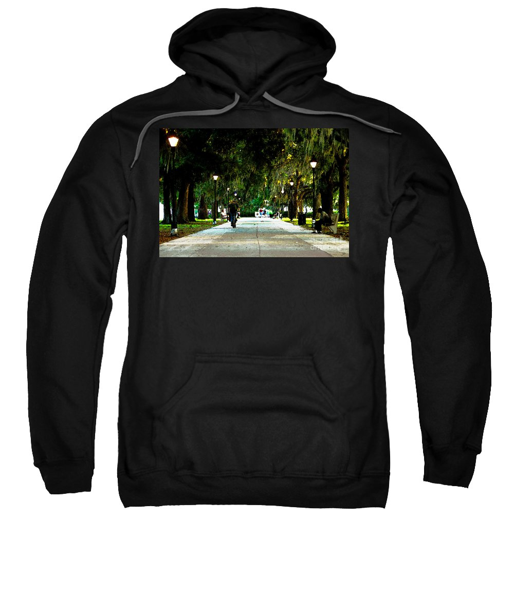 Savannah Georgia Sweatshirt featuring the painting Evening In The Park by David Lee Thompson