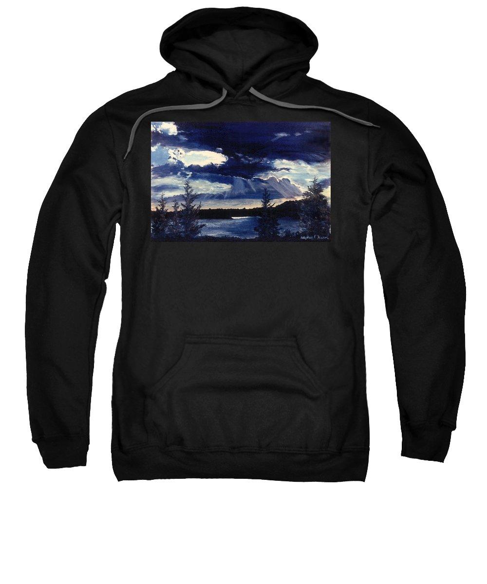 Landscape Sweatshirt featuring the painting Evening Lake by Steve Karol