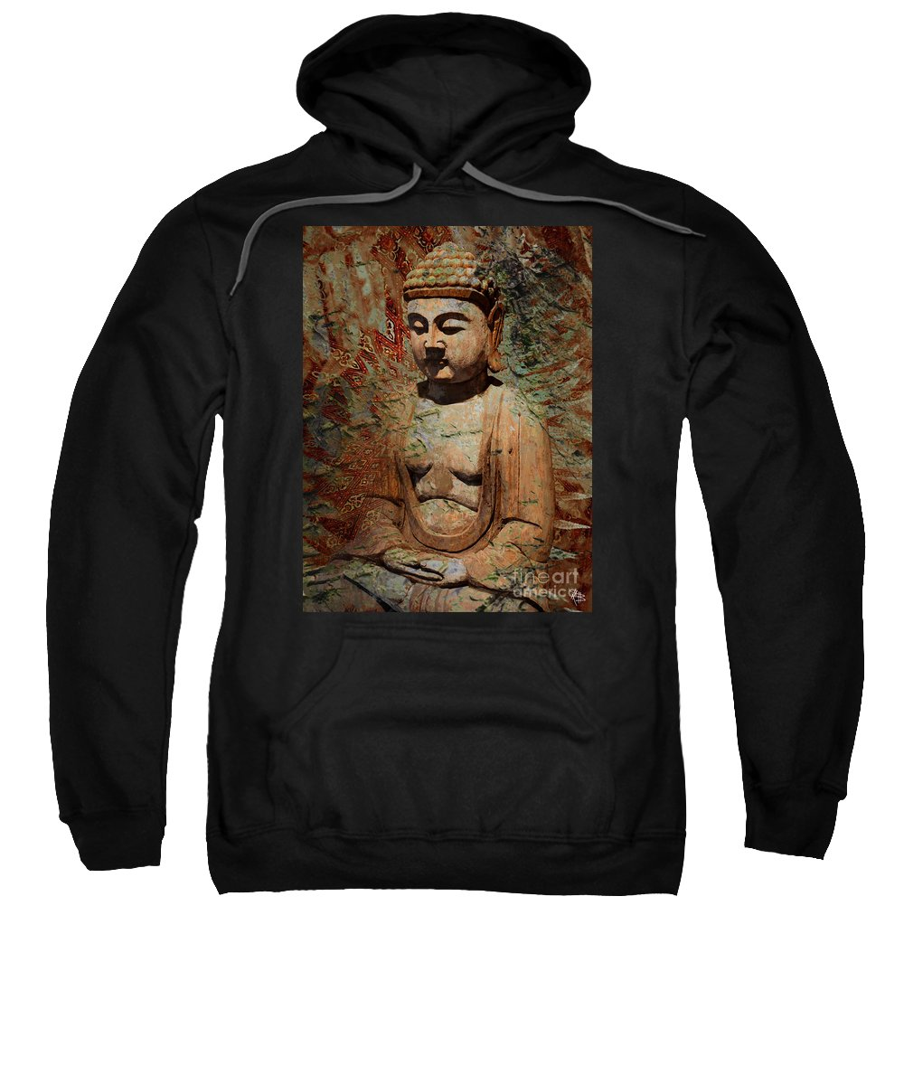 Buddha Sweatshirt featuring the painting Evening Meditation by Christopher Beikmann
