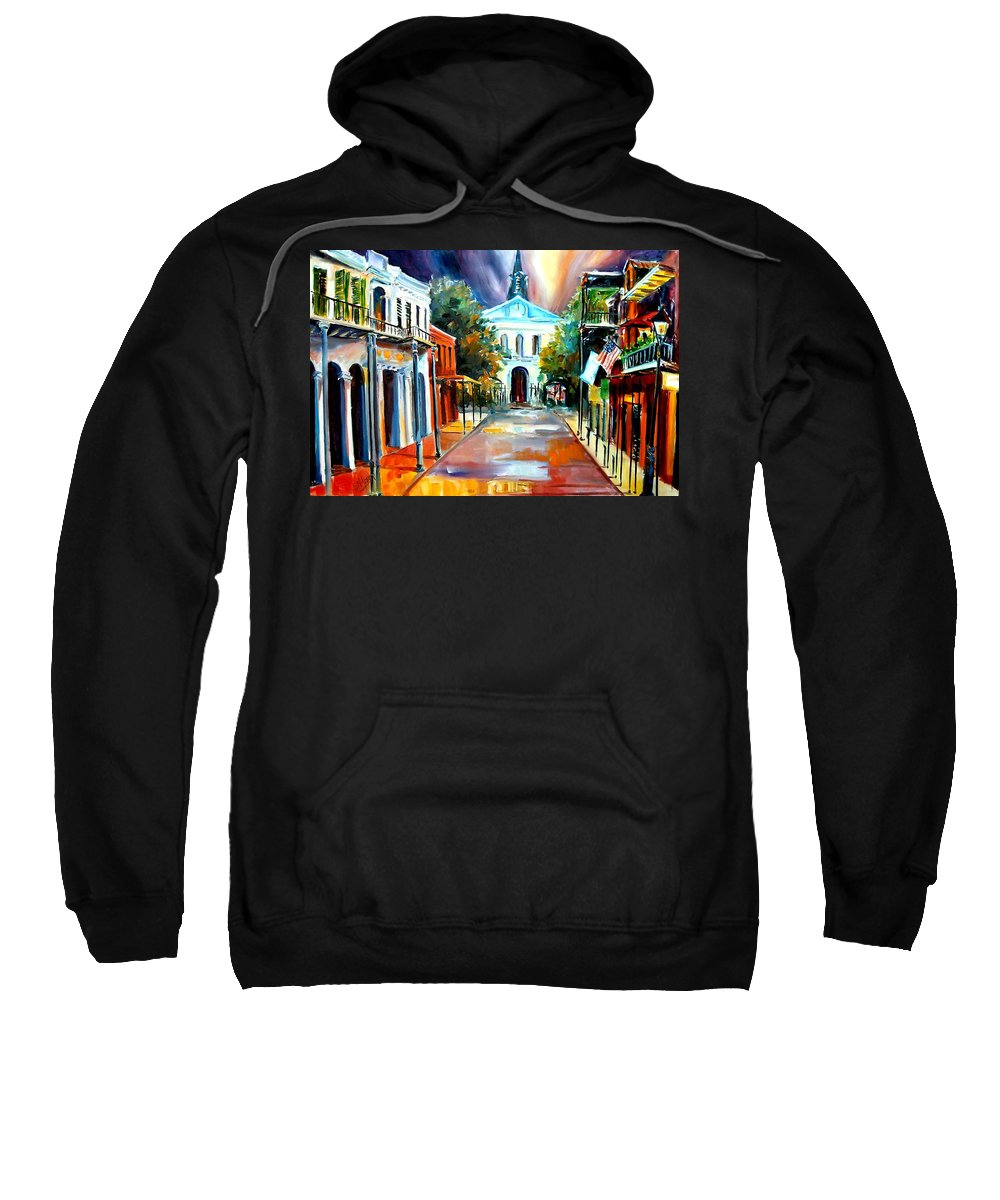 New Orleans Sweatshirt featuring the painting Evening On Orleans Street by Diane Millsap
