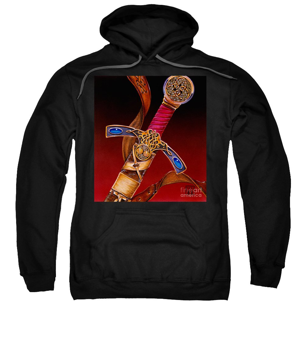 Swords Sweatshirt featuring the mixed media Excalibur by Melissa A Benson