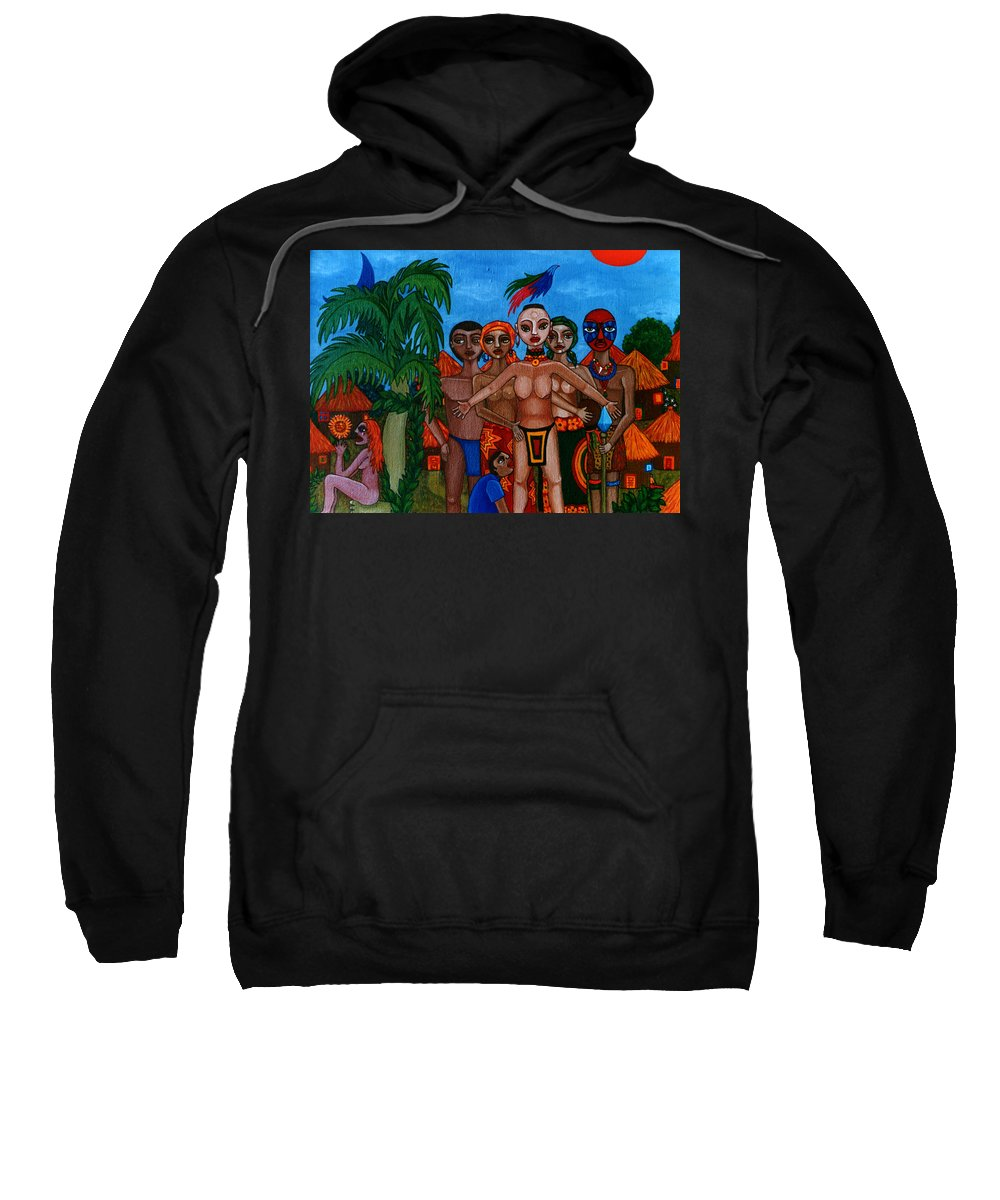 Homeland Sweatshirt featuring the painting Exiled In Homeland by Madalena Lobao-Tello