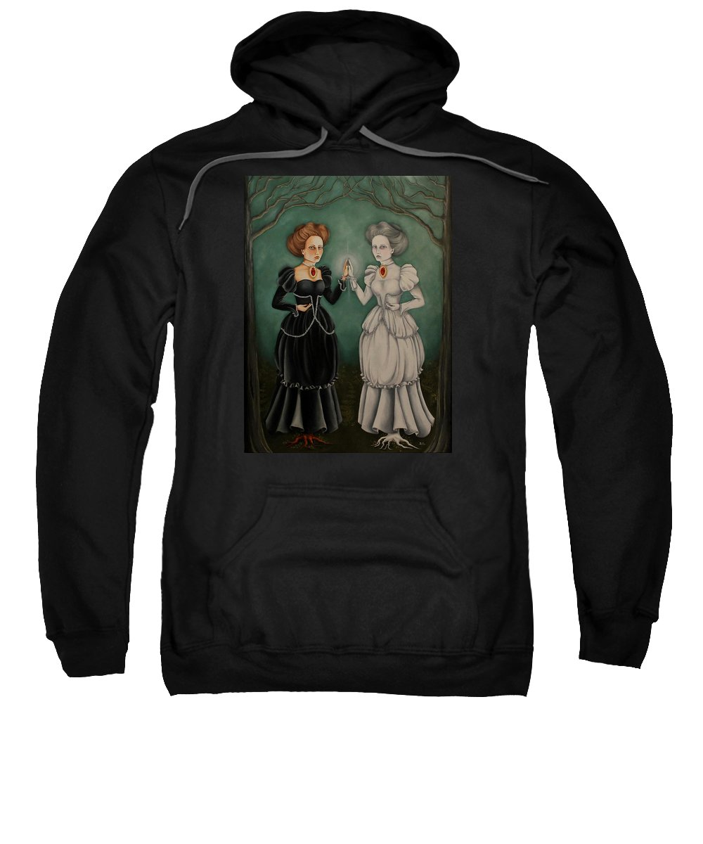 Life Death Spirituality Victorian Women Forest Sweatshirt featuring the painting Exploring The Looking Glass by Pamela Hill