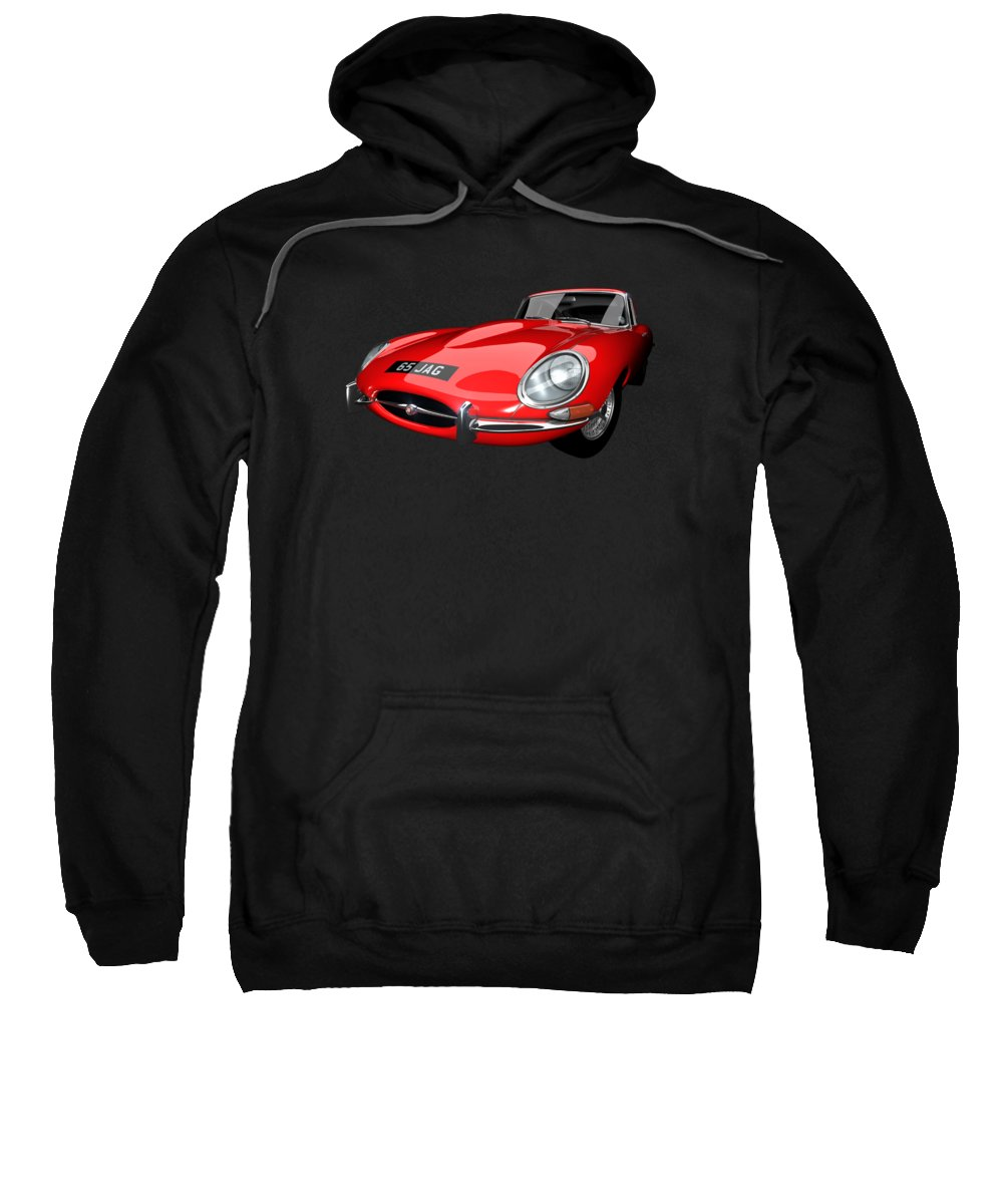 E-type Sweatshirt featuring the digital art Extreme E Red by Dan Lennard