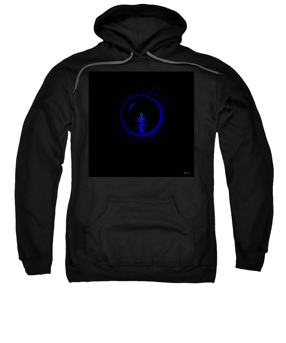 Eye Blue Abstract Different Black Orb Visual Sweatshirt featuring the digital art Eye Wonder by Andrea Lawrence