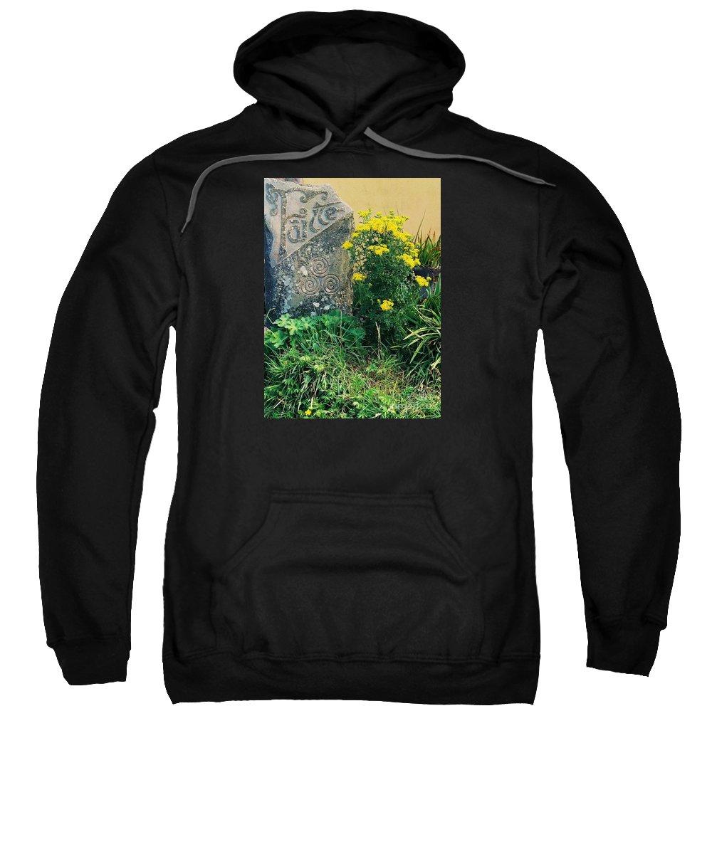 Irish Art Gaelic Rural Art Celtic Symbol Failte Sweatshirt featuring the photograph Failte Stone, A Welcome In Ireland by Marcus Dagan