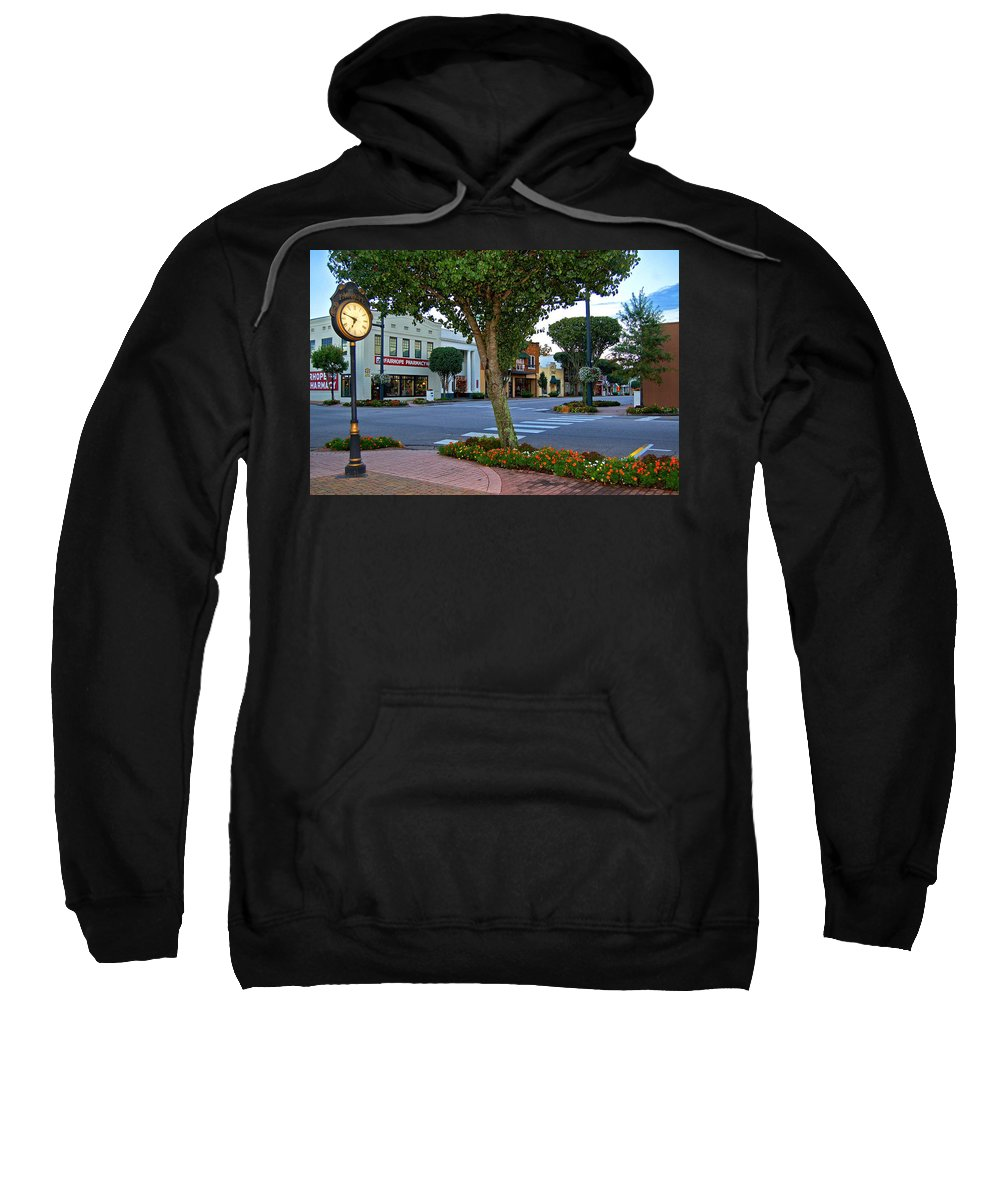 Fairhope Sweatshirt featuring the painting Fairhope Ave With Clock by Michael Thomas