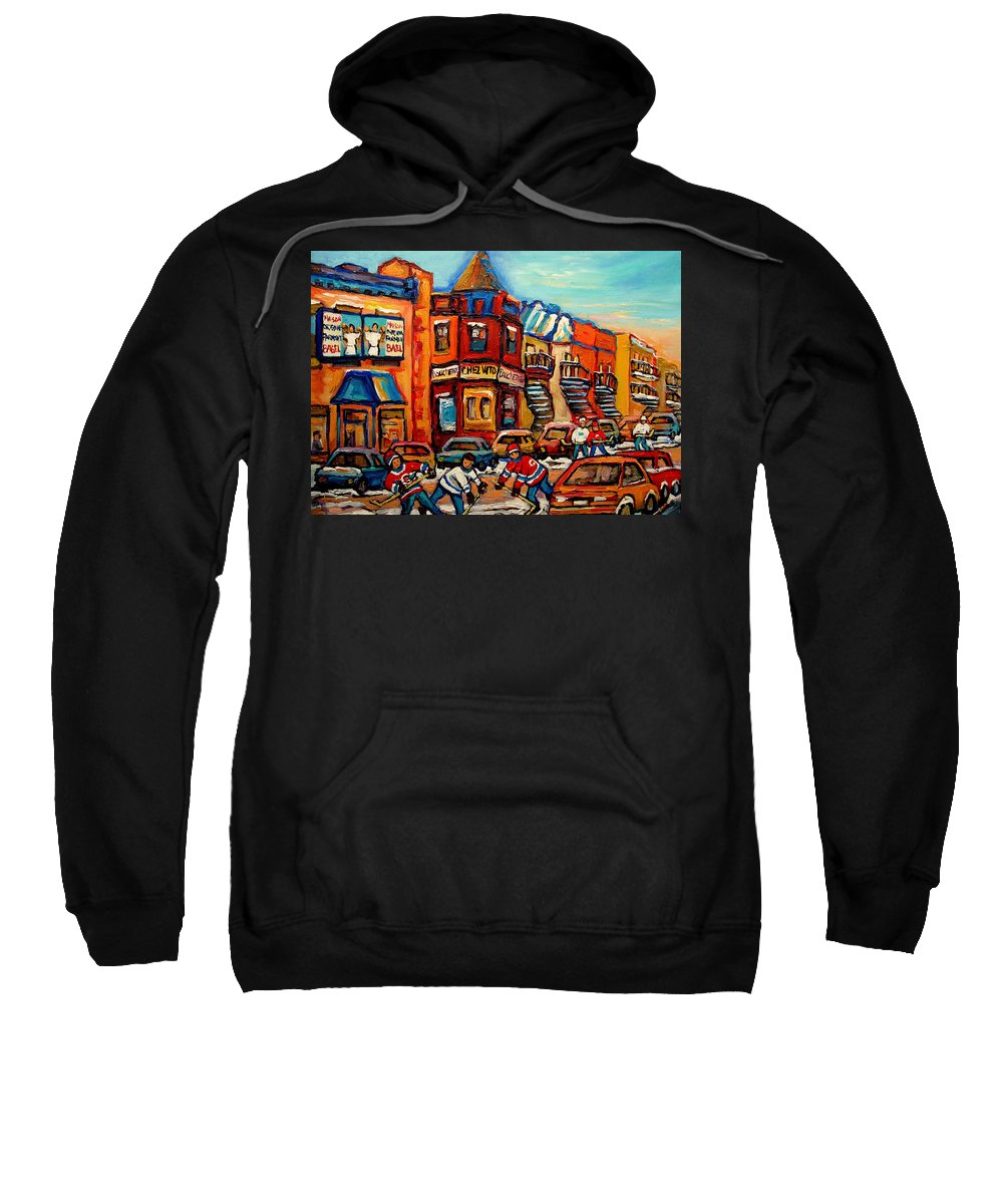 Fairmount Bagel Sweatshirt featuring the painting Fairmount Bagel With Hockey by Carole Spandau