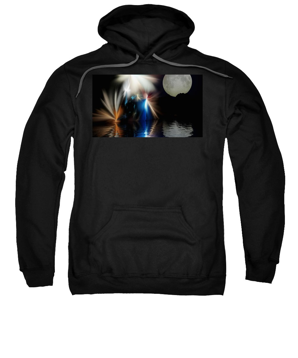 Digital Painting Sweatshirt featuring the digital art Fairy's Moonlight Ball by David Lane