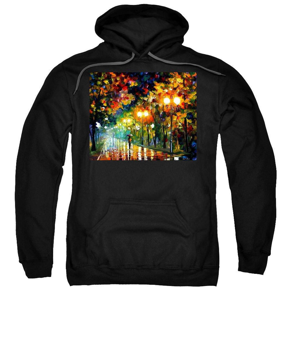 Afremov Sweatshirt featuring the painting Fall Alley by Leonid Afremov