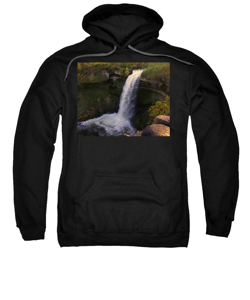 Minnehaha Falls Sweatshirt featuring the photograph Fall At Minnehaha Falls by Tom Reynen
