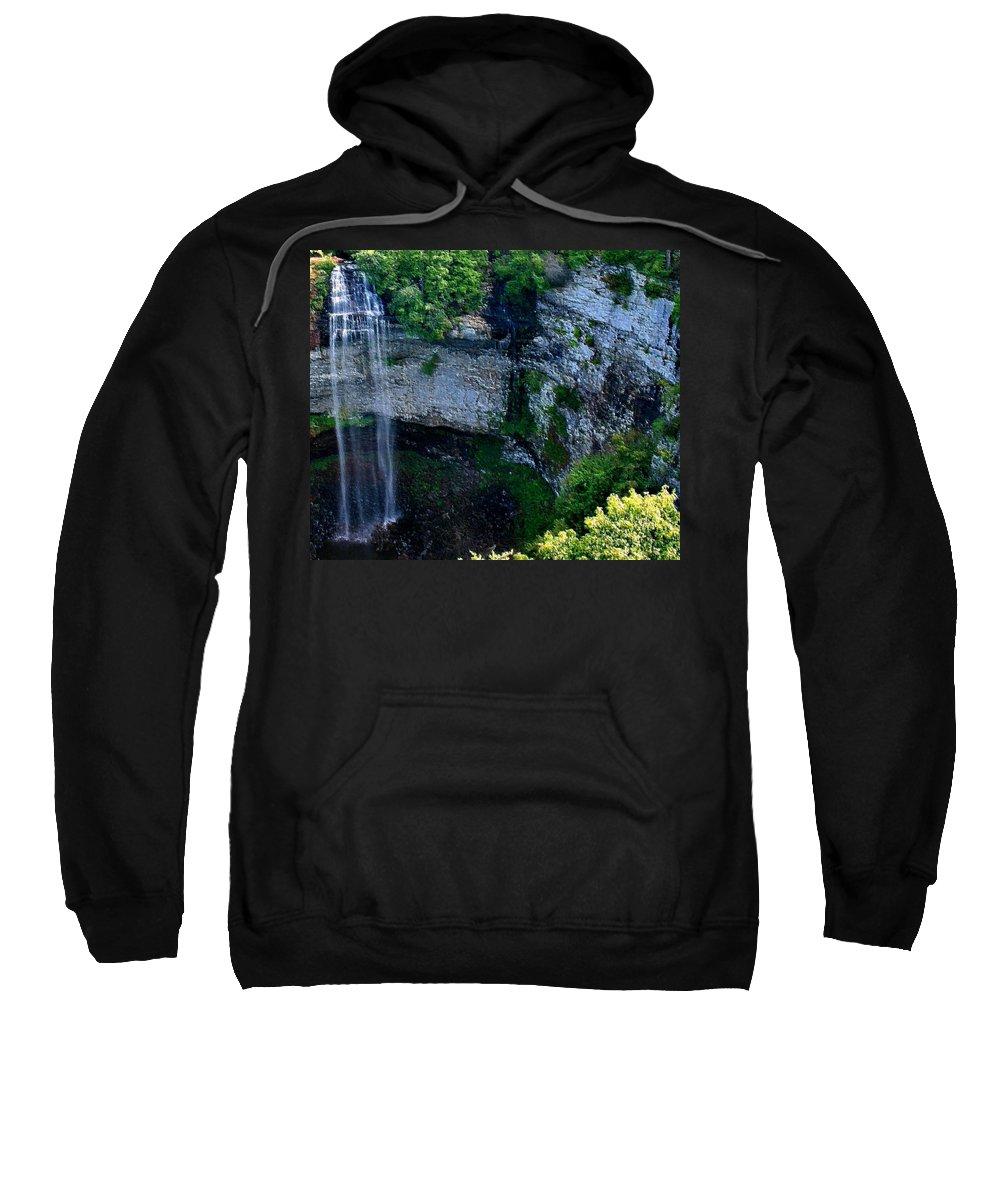 Waterfall Sweatshirt featuring the mixed media Fall Creek Falls by Kristin Elmquist