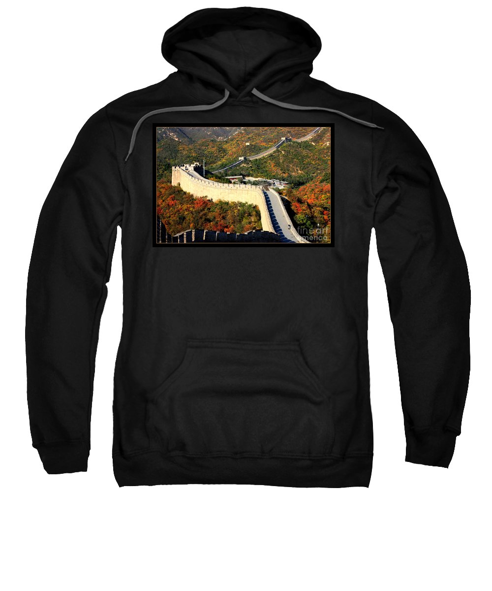The Great Wall Sweatshirt featuring the photograph Fall Foliage At The Great Wall by Carol Groenen