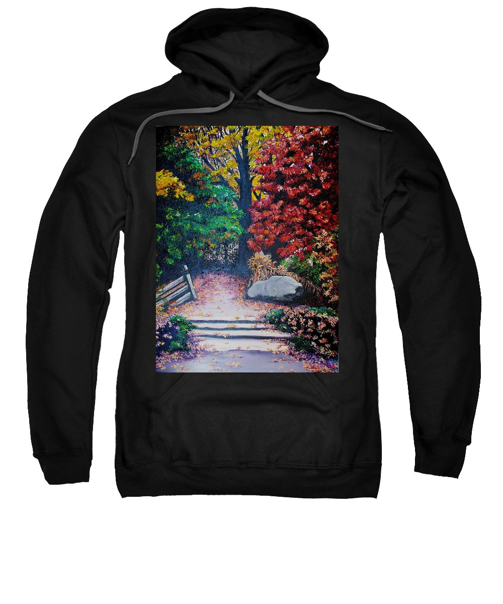 A N Original Painting Of An Autumn Scene In The Gateneau In Quebec Sweatshirt featuring the painting Fall In Quebec Canada by Karin Dawn Kelshall- Best