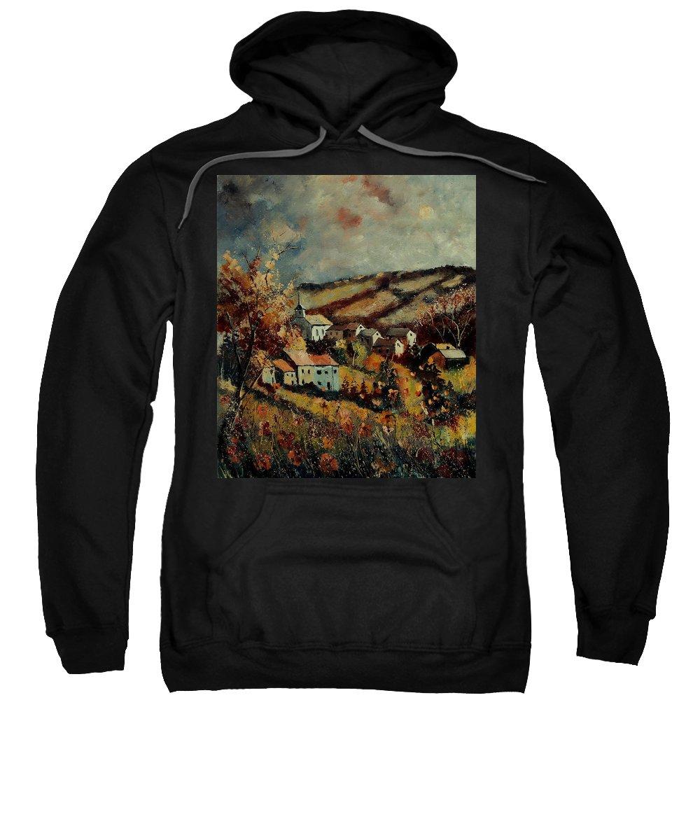 Landscape Sweatshirt featuring the painting Fall Landscape 670110 by Pol Ledent