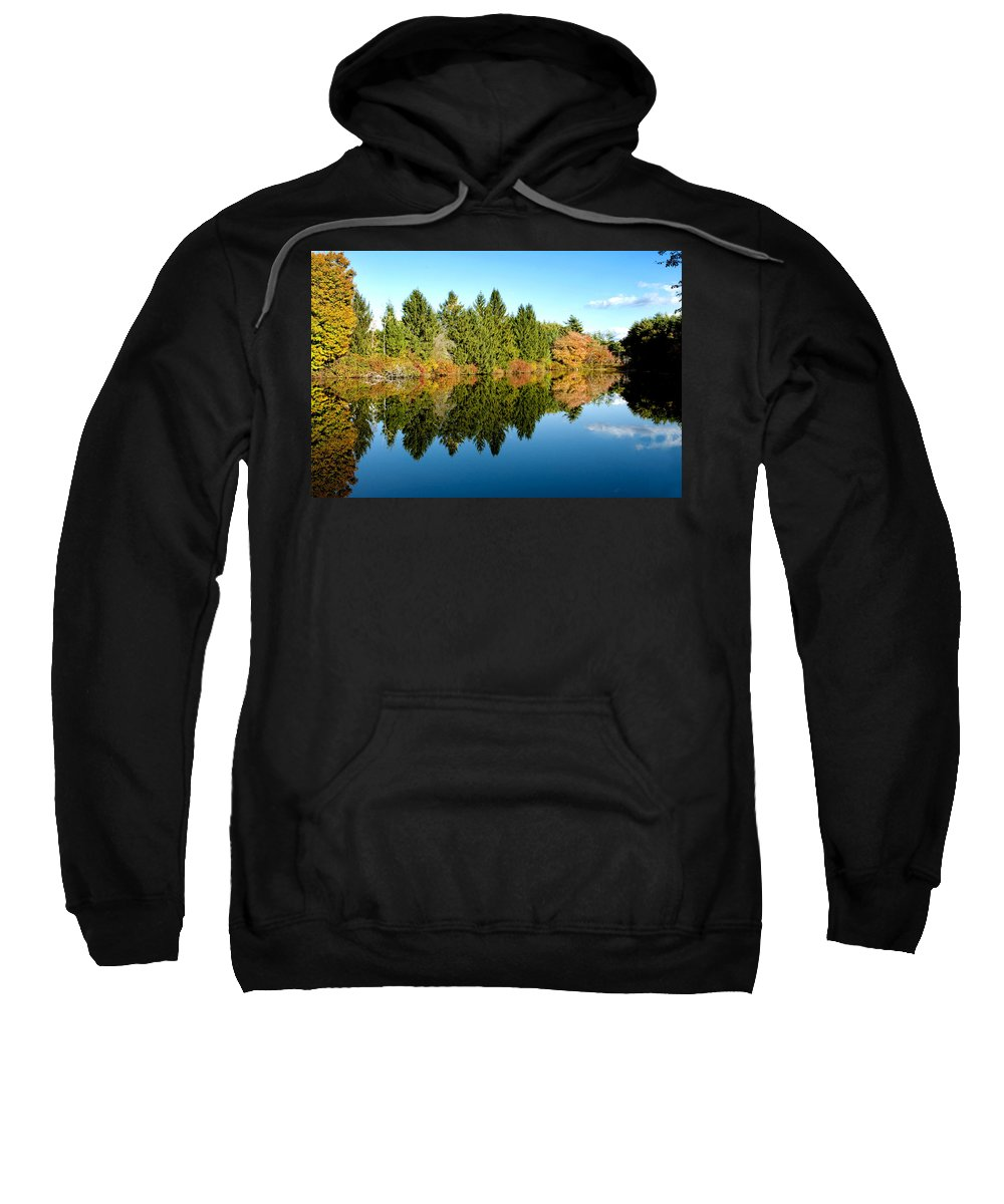 Foliage Sweatshirt featuring the photograph Fall Reflections II by Greg Fortier