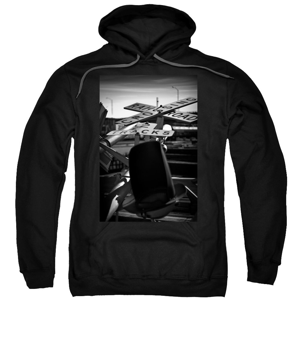 Black And White Photograph Sweatshirt featuring the photograph Fallen by Mike Oistad