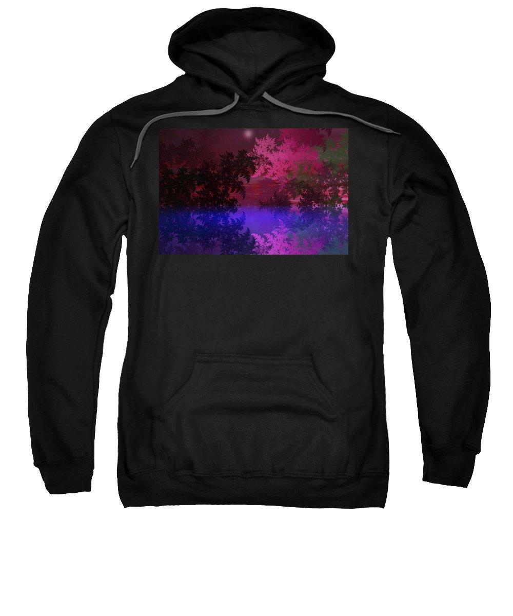 Abstract Digital Painting Sweatshirt featuring the digital art Fantasy Landscape by David Lane
