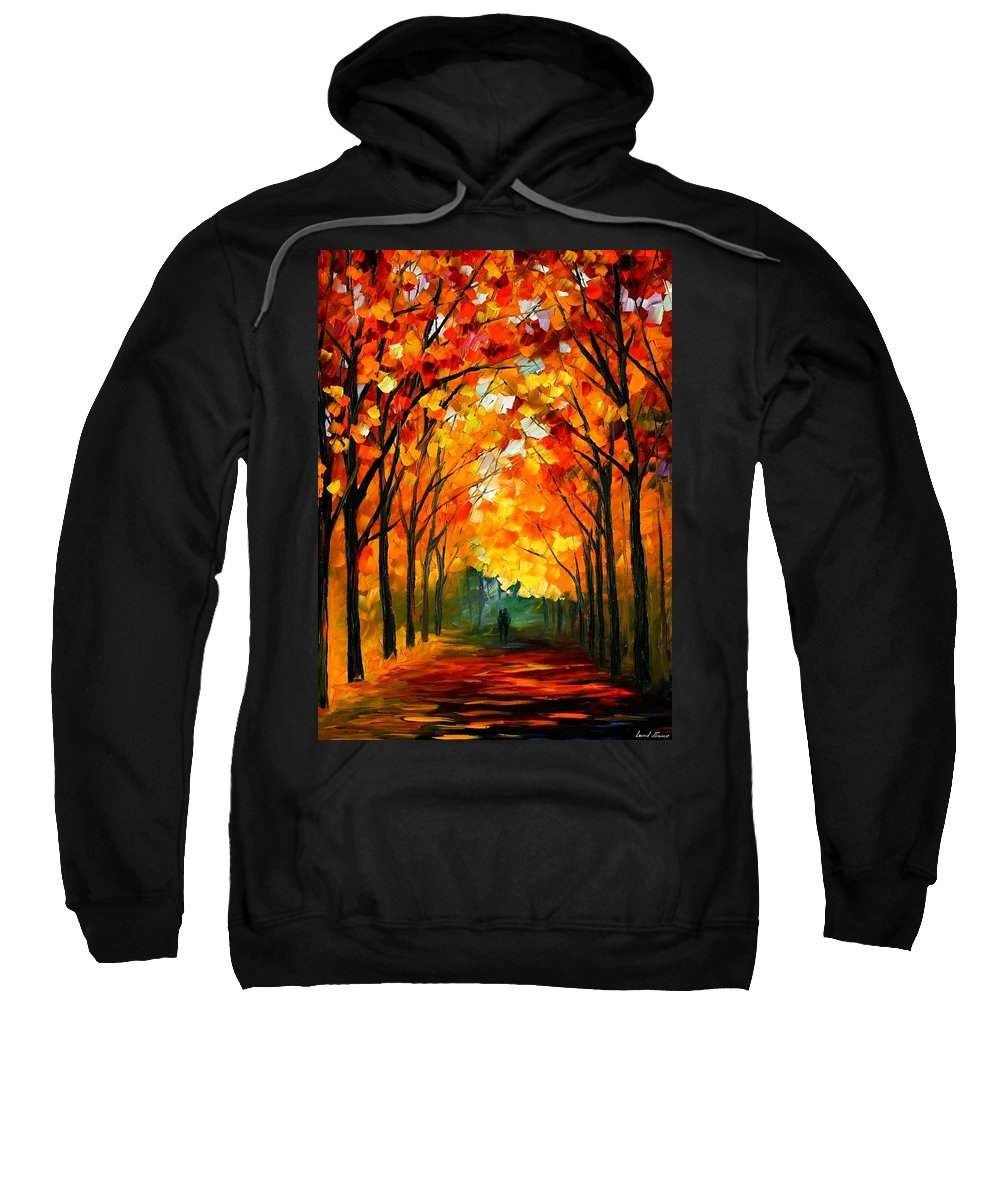 Afremov Sweatshirt featuring the painting Farewell To Autumn by Leonid Afremov