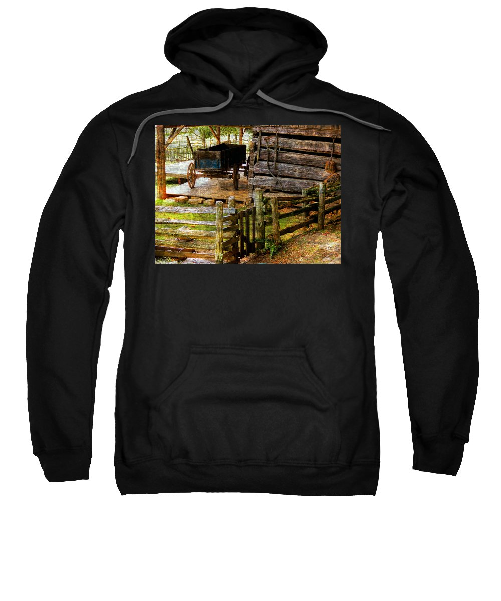 Old Wooden Wagon Farm Fence Rail Sweatshirt featuring the photograph Farm Wagon by Bob Welch