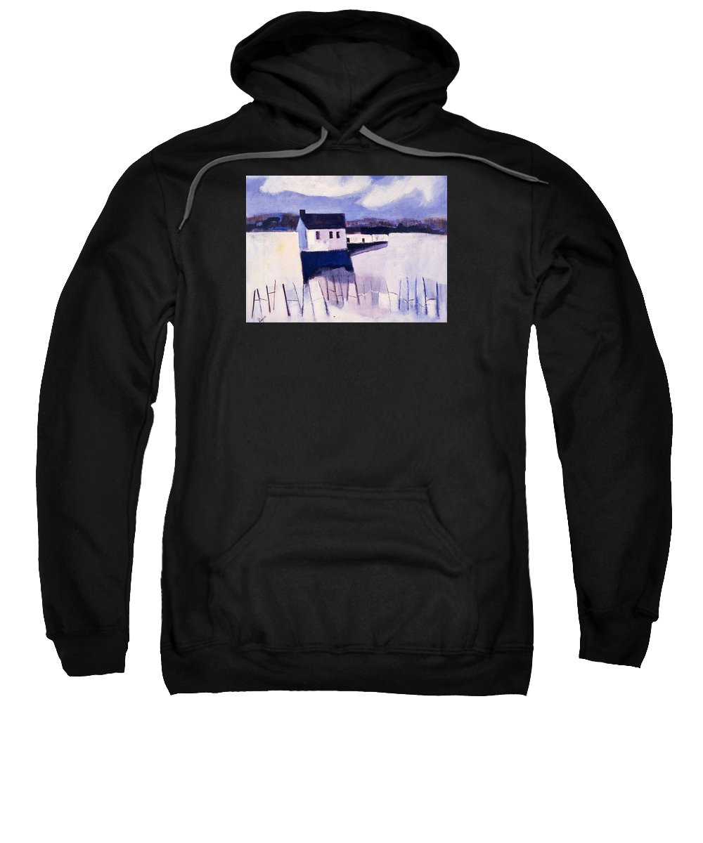 Winter Sweatshirt featuring the painting Farmhouse In Winter by Betty Pieper
