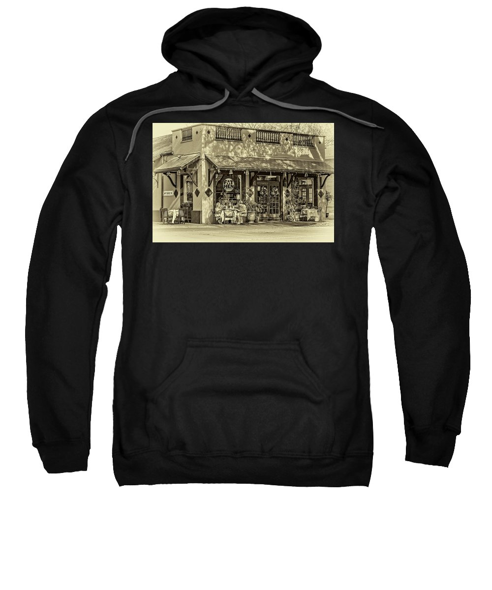 New Orleans Sweatshirt featuring the photograph Fat Hen Grocery Sepia by Steve Harrington