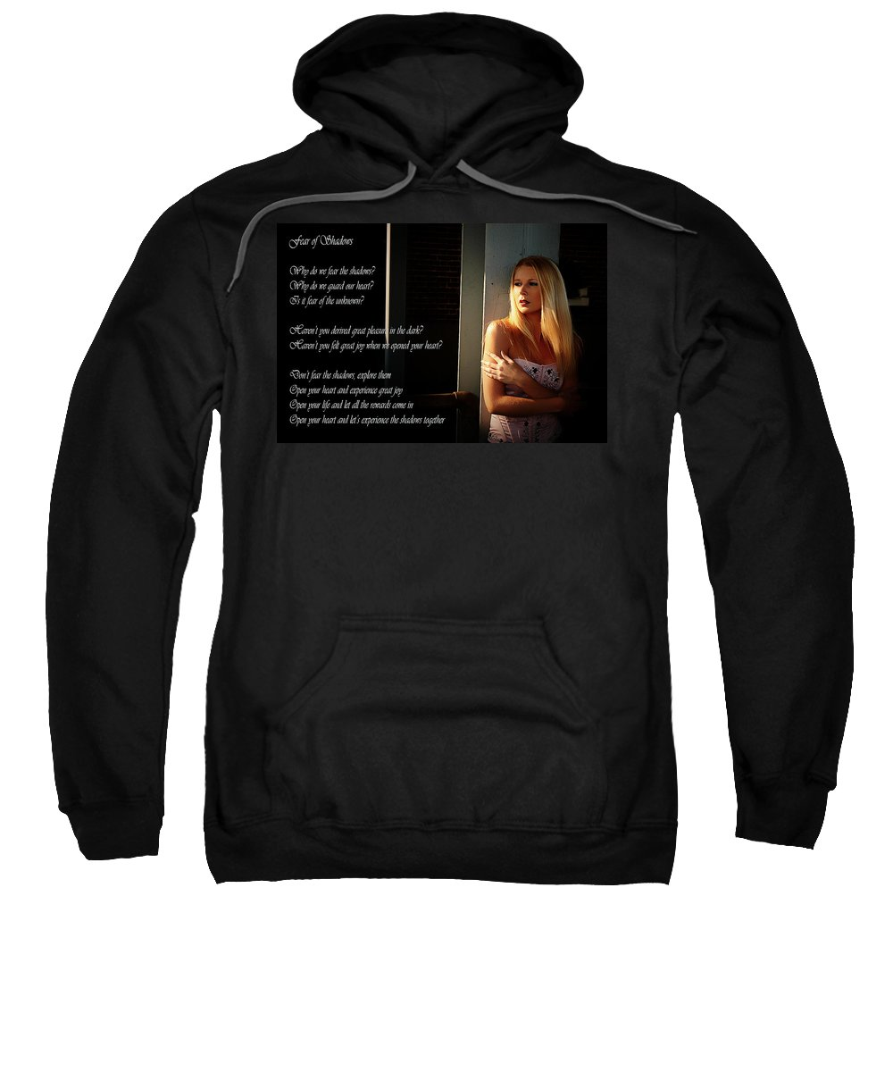 Clay Sweatshirt featuring the photograph Fear Of Shadows by Clayton Bruster