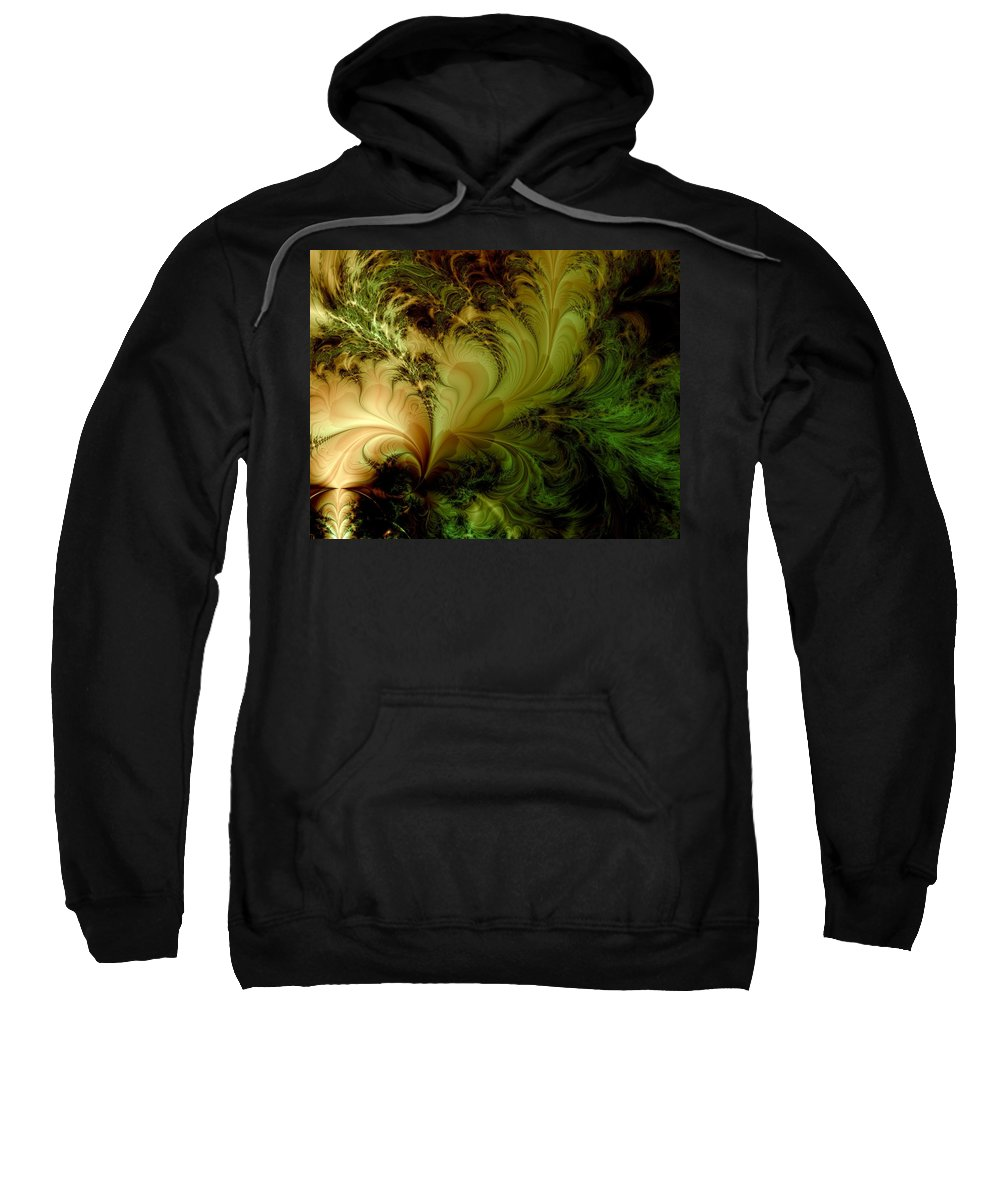 Feather Sweatshirt featuring the digital art Feathery Fantasy by Casey Kotas