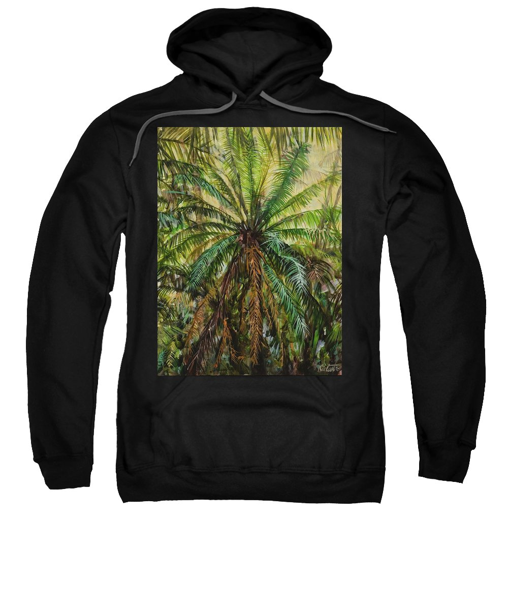 Landscape Sweatshirt featuring the painting Federico Palm by Ric Castro