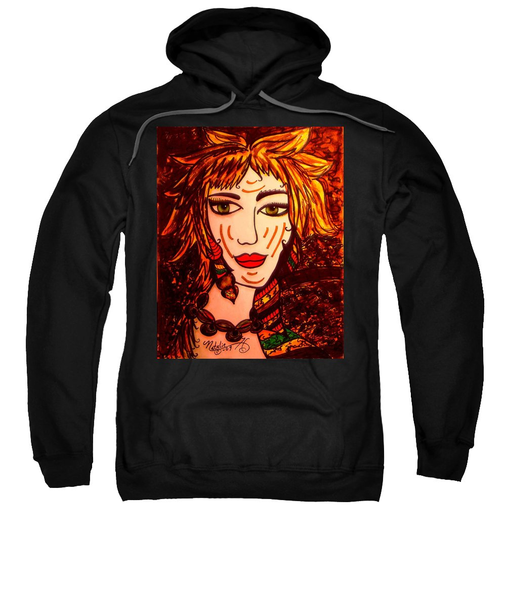 Woman Sweatshirt featuring the painting Female Animal by Natalie Holland