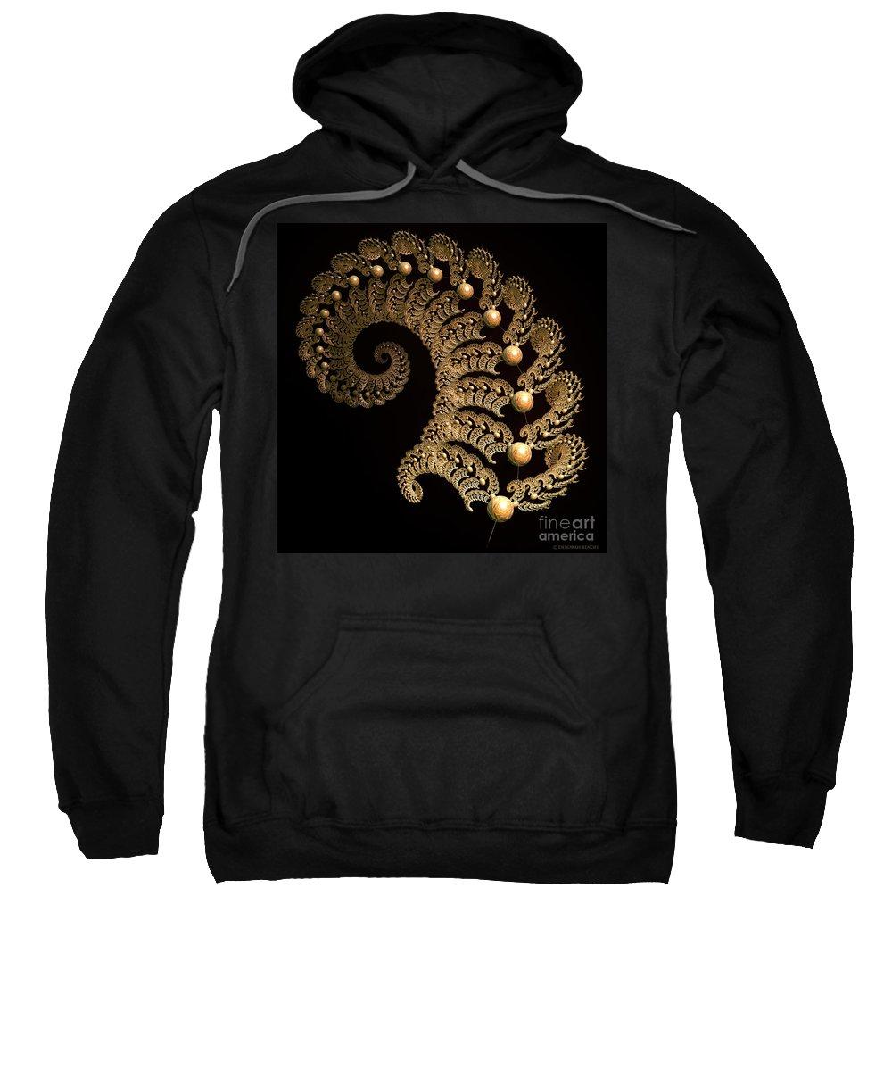 Incendia Sweatshirt featuring the digital art Fern-spiral-fern by Deborah Benoit