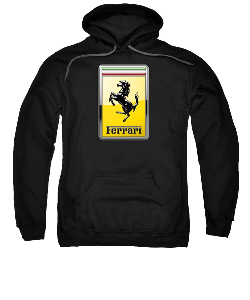 �auto Badges� Collection By Serge Averbukh Sweatshirt featuring the photograph Ferrari 3d Badge- Hood Ornament On Black by Serge Averbukh