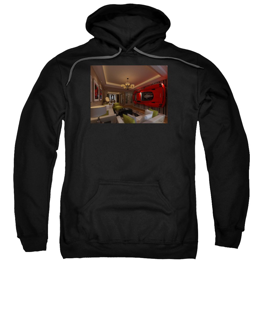 Ferrari Sweatshirt featuring the digital art Ferrari Enzo Art Wall by Edier C