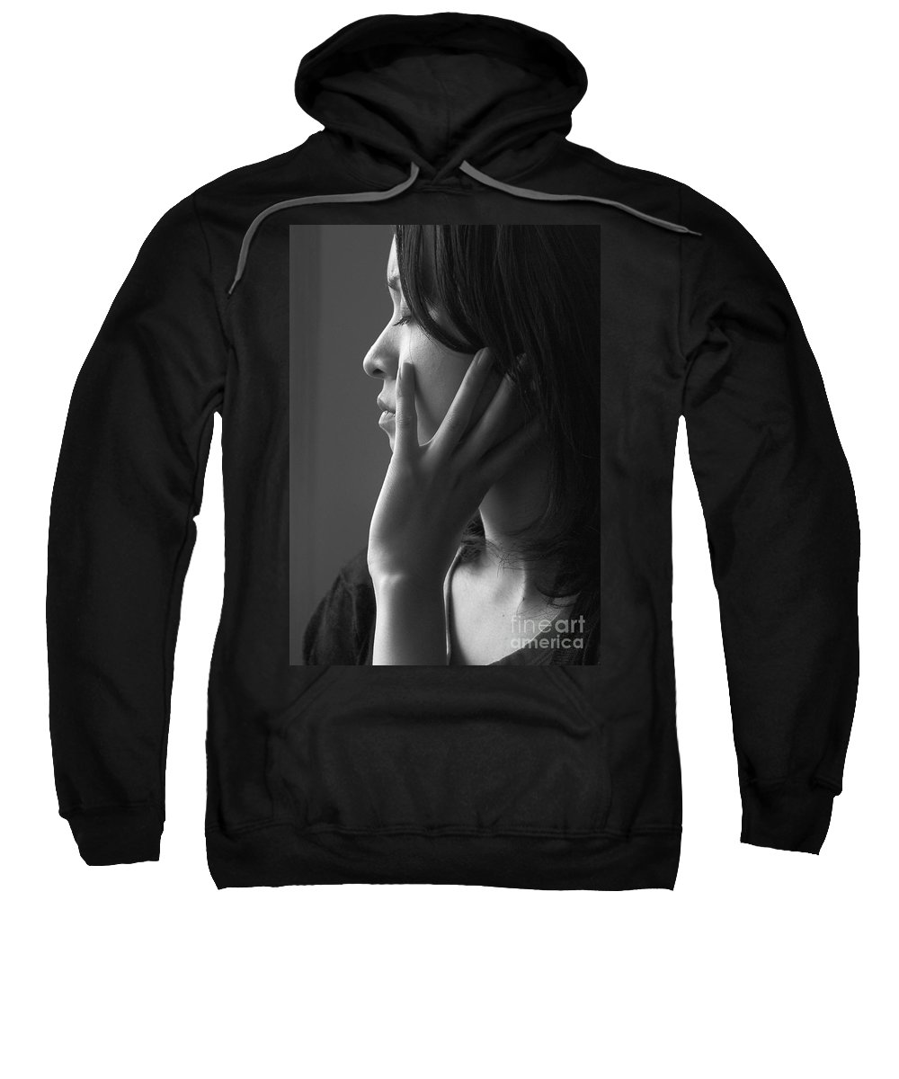 Woman Girl Candid Monochrome Hand Sweatshirt featuring the photograph Ferry Girl by Sheila Smart Fine Art Photography