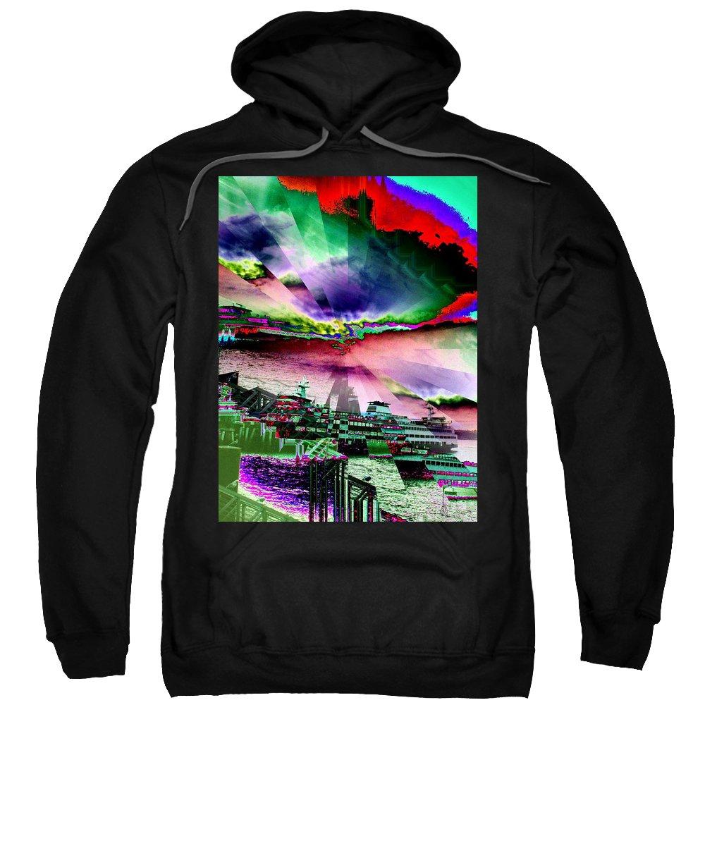 Seattle Sweatshirt featuring the digital art Ferry Illusion by Tim Allen