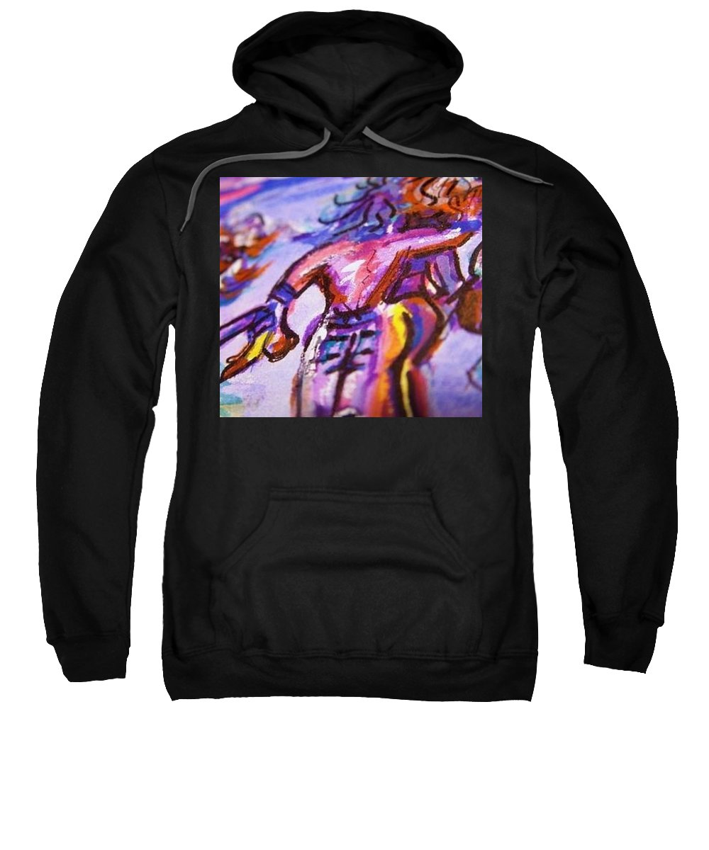 Party Fever Sweatshirt featuring the painting Festa - Fever by Nila Poduschco