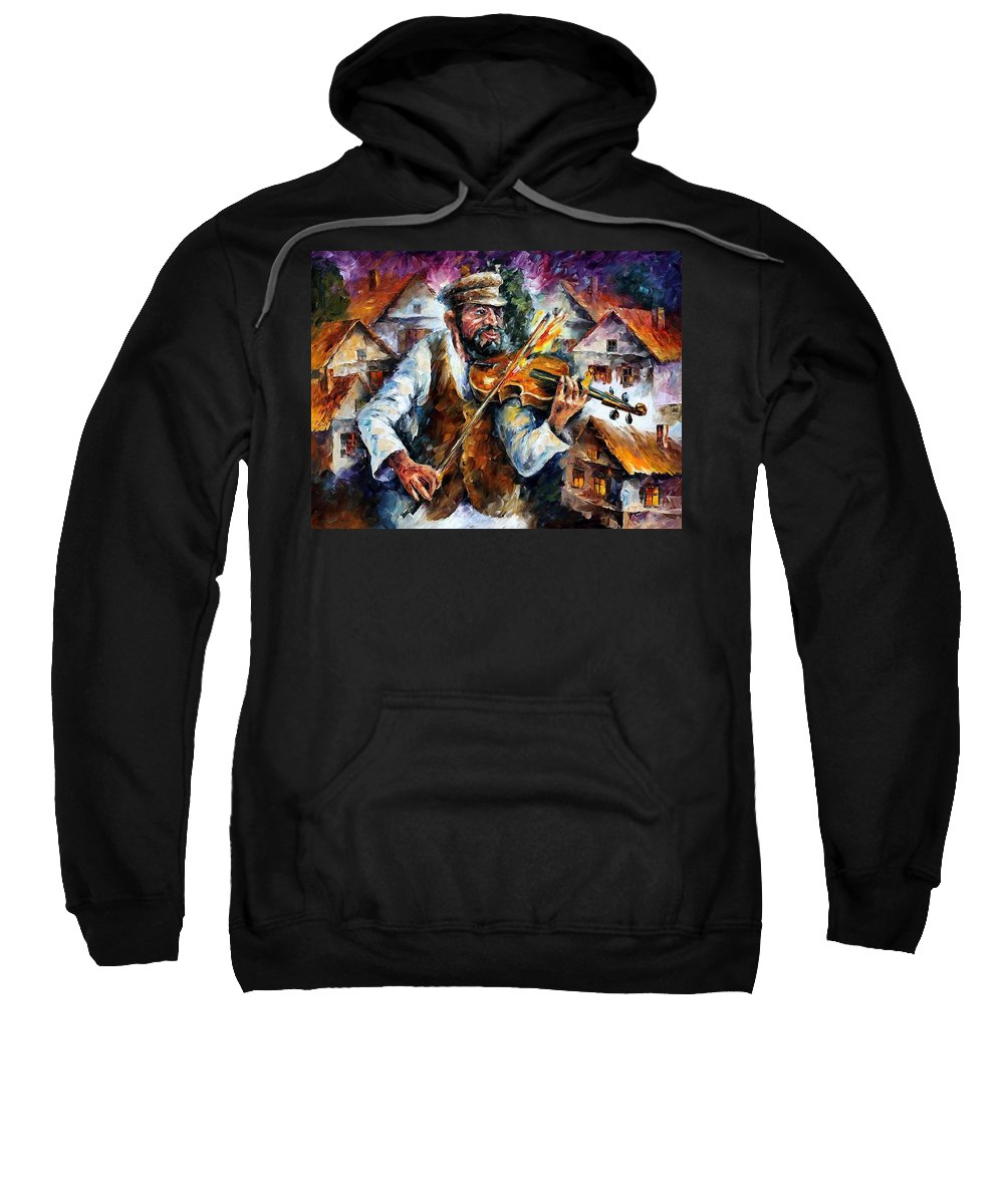 Judiac Sweatshirt featuring the painting Fiddler From The Sky by Leonid Afremov