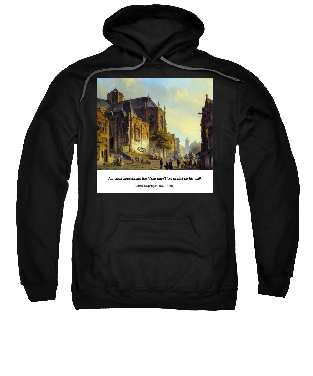 Altered Art Sweatshirt featuring the digital art Figures On A Market Square In A Dutch Town 1843 by John Saunders