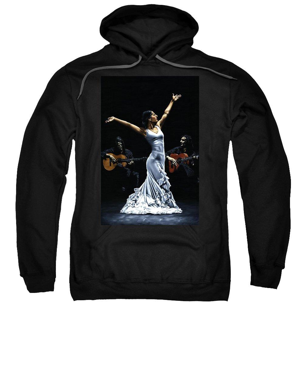 Flamenco Sweatshirt featuring the painting Finale del Funcionamiento del Flamenco by Richard Young