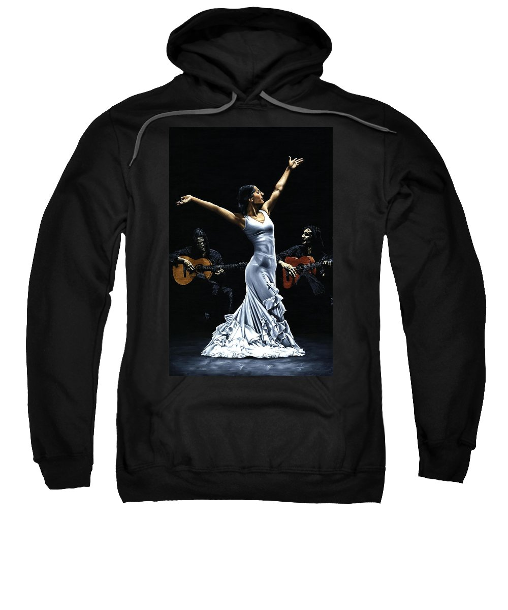 Flamenco Sweatshirt featuring the painting Finale Del Funcionamiento Del Flamenco by Richard Young